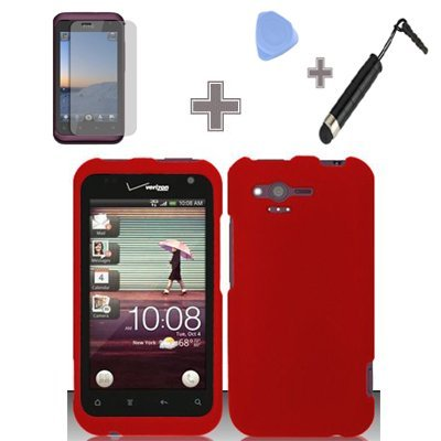4-Items-Combo-Case-Screen-Protector-Film-Case-Opener-Stylus-Pen-Rubberized-Solid-Red-Color-Snap-on-Hard-Case-Skin-Cover-Faceplate-for-HTC-Rhyme-Bliss-6330-Verizon