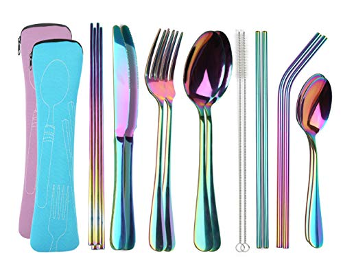 Reusable Travel utensils cutlery set with Case, OHFUN Stainless Steel Portable Flatware Set Silverware Set for Camping Picnic Office or School Lunch,Dishwasher Safe (Pink+Blue)