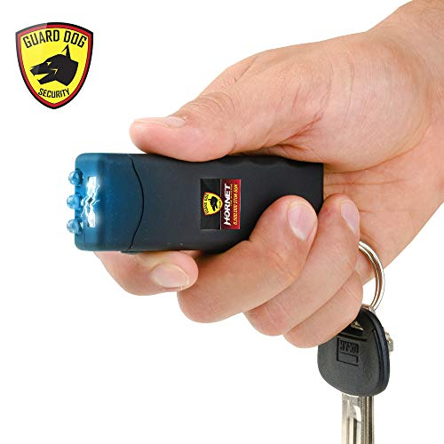 Guard Dog Security Hornet World's Smallest Stun Gun Keychain with Mini LED Flashlight - Mini Stun Gun - Personal Defense Equipment - Rechargeable Stun Gun - with Carry Case