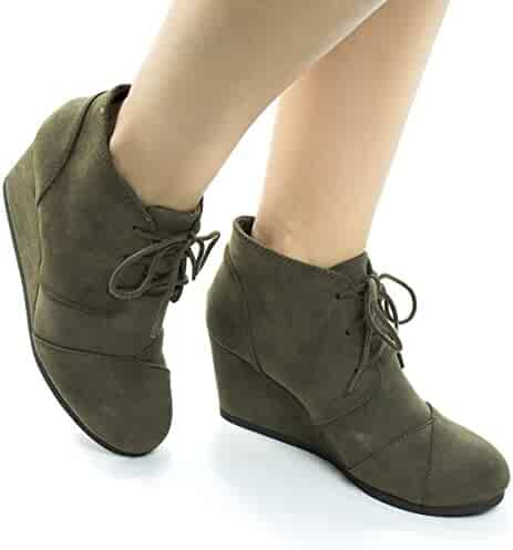 d98361d34ded Lace up Oxford Ankle Bootie Round Toe High Hidden Wedge Heel Women s Shoe