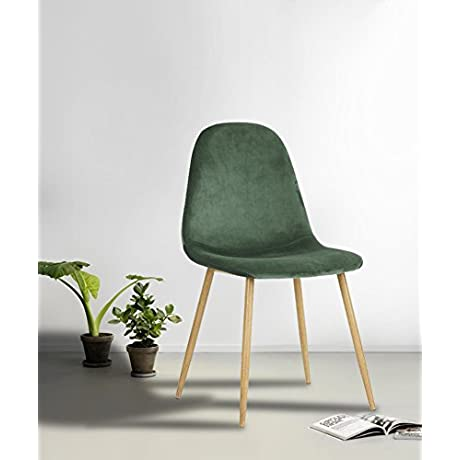 Set Of 4 Eames Style Side Chair Metal Legs Velvet Fabric Cushion Seat And Back For Dining Room Chairs In Cactus