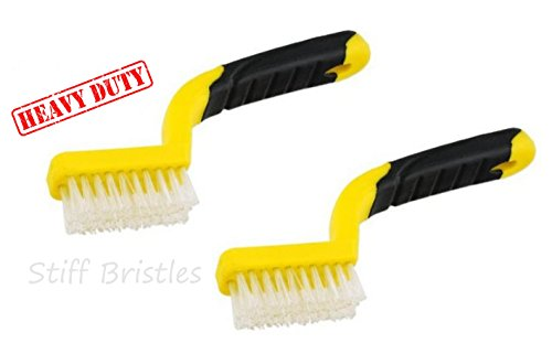2 ALAZCO Soft-Grip Handle Heavy-Duty Tile Grout Brush - Extra-Stiff Bristles - Yellow