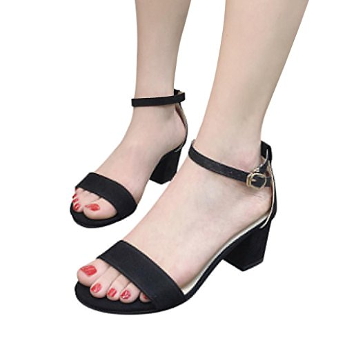 88a9fe08c8ea SFE Women Open Toe Ankle Strap Buckle Chunky Block Mid Heel Formal Party  Sandals at Amazon Women s Clothing store