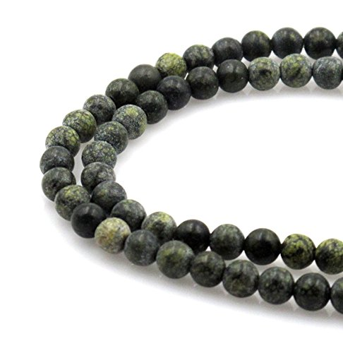 Russian Serpentine Necklace - BRCbeads Natural Dark Green Serpentine Russian Jade Gemstone Round Loose Beads 4mm Approxi 15.5 inch 88pcs 1 Strand per Bag for Jewelry Making