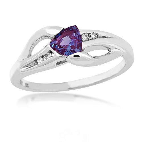 Ring Trillion Accented - Genuine Trillion Cut Alexandrite Ring with .04 ct. tw. Diamond Accented Band in 10K White Gold - WHL7058DCRA