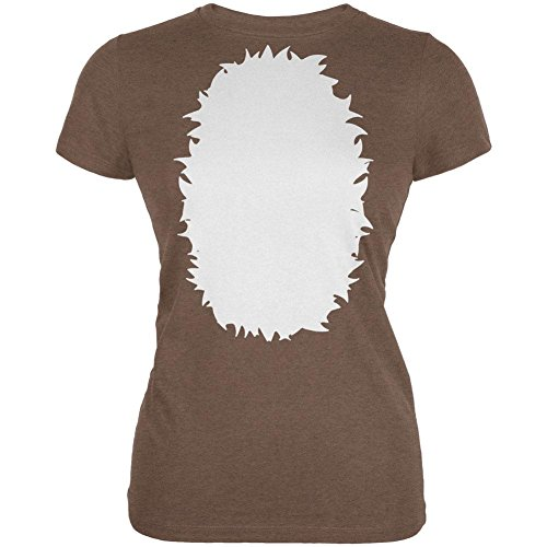 Halloween Baby Deer Fawn Costume Juniors Soft T Shirt Heather Brown (Baby Fawn Halloween Costume)