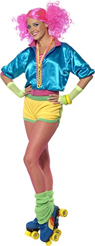 Smiffys Women's Skater Girl Costume Neon with Top Shorts and Tube Top, Multi, Small -