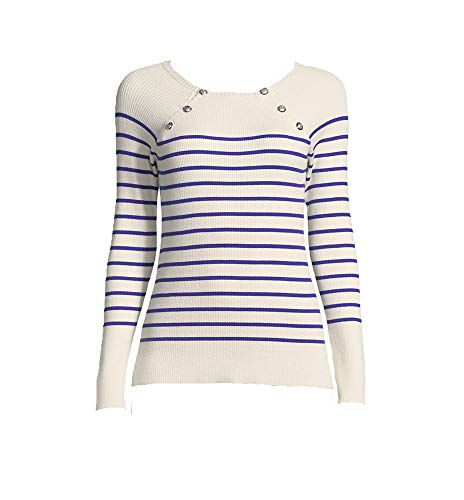 Lauren Ralph Lauren Women's Petite Striped Crew Neck Sweater (Winter Cream, ()