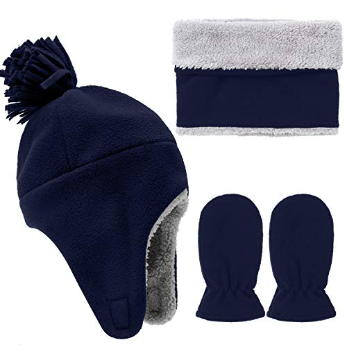 Aneco Toddler Baby Winter Set Totally Micro Fleece Pilot Hat Mitten Scarf Set