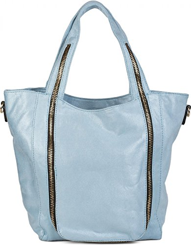 styleBREAKER hobo bag with zip application on the front, shoulder bag, hand bag, bag, ladies 02012160, Color White Light Blue
