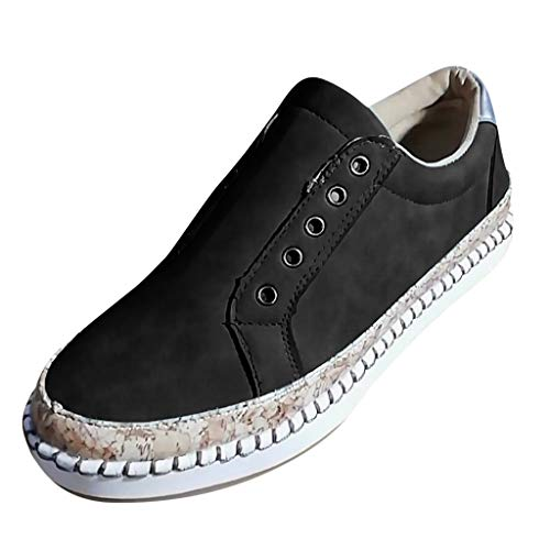 (TnaIolral Women Shoes Breathable Round Toe Slip On Summer Flats with Sneakers (US:5.5-6, Black))