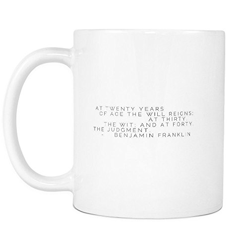 Funny Coffee Mug ,At twenty years of age the will reigns; at thirty, the wit; and at forty, the judgment. , White Ceramic, 11 oz
