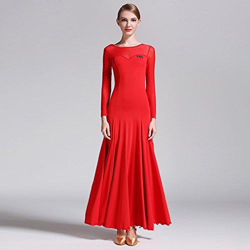 Moderna Vals Larga Tango Hilados De Vestido Seda Hielo Y Traje Péndulo Danza Baile Red Moderno Manga Net Falda Gran Salón Señora OrxqBO