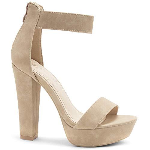 - Herstyle Cutesy Women's Open Toe Ankle Strap Chunky Platform Dress Heel Sandal Nude 8.0
