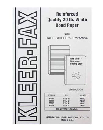 Kleer-Fax Tare-Shield Mylar Reinforced Filler Paper, Unruled, 50# White Offset, 8-1/2 x 5-1/2 Inches, 100 Sheets per Pack, 20085 (19 PACKS)