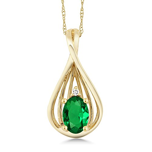 0.40 Ct Oval Green Simulated Emerald Diamond 10K Yellow Gold Teardrop Pendant With Chain (Yellow Teardrop Necklace Gold)