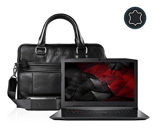 reboon Echt-Leder Laptop-Tasche in Braun Leder für ACER HELIOS 300 PH317 51 78H7 17 3 | 17 Zoll | Notebooktasche Umhängetasche | Damen/Herren - Unisex | Premium Qualität Schwarz Leder