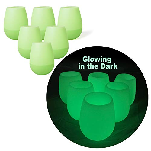 Silicone Wine Glasses Glowing in The Dark, Camping Wine Glasses - Set of 6 Unbreakable Outdoor Travel Wine Glass, Picnic Cups - Dishwasher Safe FDA Food Grade Silicone Cups by -