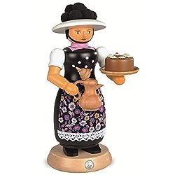 German incense smoker Black-Forest woman with smoking coffeepot, height 25 cm / 10 inch, original Erzgebirge by Mueller Seiffen