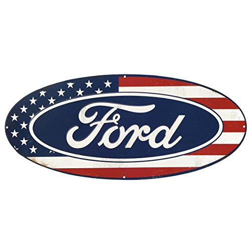 - Open Road Brands Ford American Flag Oval Metal Sign