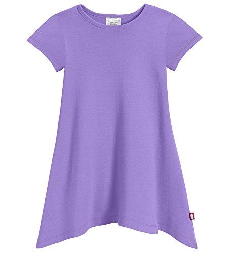 City Threads Girls' Shark Bite Short Sleeve Tunic Top Blouse Shirt Stylish Modern All Cotton for Sensitive Skins SPD Sensory Friendly, Deep Purple, 6