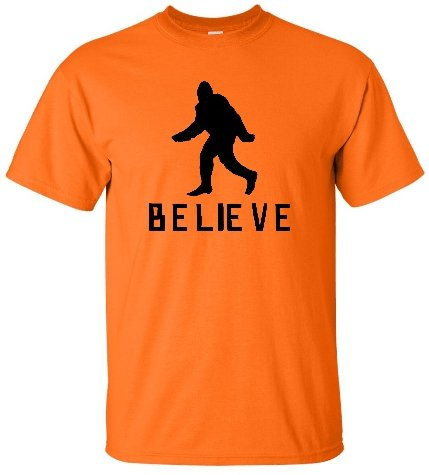 Go All Out XX-Large Orange Adult Bigfoot Believe Sasquatch Squatch T-Shirt