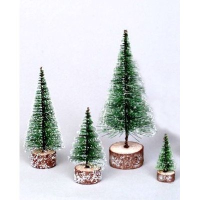 Vickerman 7'' Frosted Green Bottle Brush Artificial Mini Pine Christmas Tree