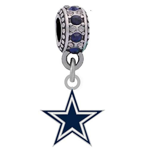 Final Touch Gifts Dallas Cowboys Star Charm Fits European Style Large Hole Bead Bracelets