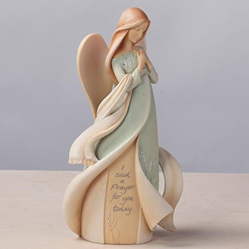 Foundations Prayer Angel Stone Resin Figurine, 9""