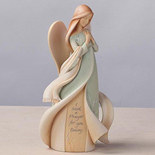 "Foundations Prayer Angel Stone Resin Figurine, 9"" (Angel Figurine Praying)"