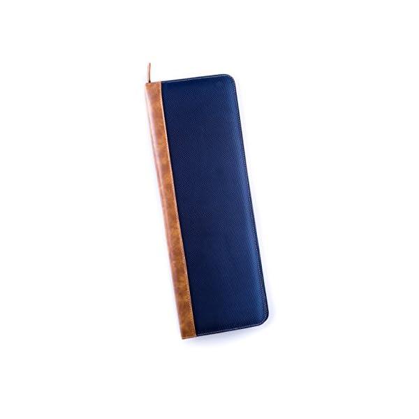 Mens-Blue-Ballistic-Nylon-Travel-Necktie-Tie-Case-Holder-Collar-Stays