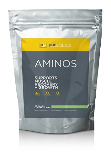 Purbolics Aminos | Supports Muscle Recovery & Growth | 4g of Free-Form Amino Acids, Beta-Alanine, 0 Calories & 60 Servings (Cool As Cucumber…Lime)
