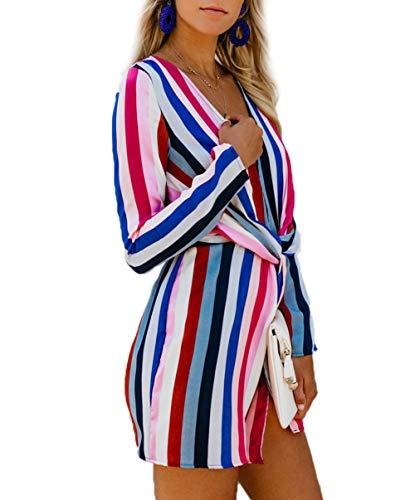 Canrulo Sexy V-cou À Manches Longues Femmes Robes Mini Cru Coloré