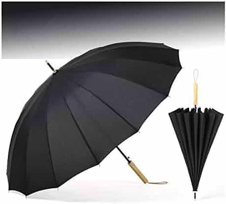 916aafff6 Zairmb Long Umbrella,Windproof Wooden Crook Handle Durable 16 Ribs  Waterproof Auto Open Umbrella 16