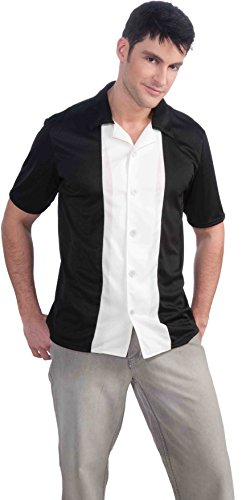 Bowling Shirt Adult Costumes (Forum Novelties Men's Fabulous 50's Bowling League Costume Shirt, Black/White, Large)
