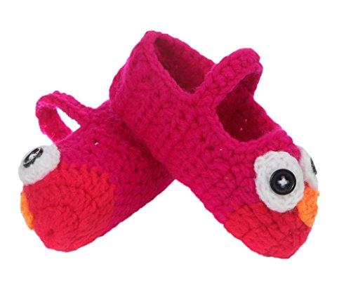 Bigood Strickschuh One Size Strick Schuh Baby Unisex süße Muster 11cm Vogel Rot B PfwfZU5Rx
