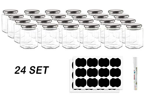 Hexagon Glass Jars by Nellam - 10 OZ, 24 Pack - Includes 48 Chalk Sticker Labels and 2x Chalk Pen. DIY Jars for Canning, Party Favors, Jams, Sauces, Herbs, Spices. (Silver Lid - 24 Pcs)