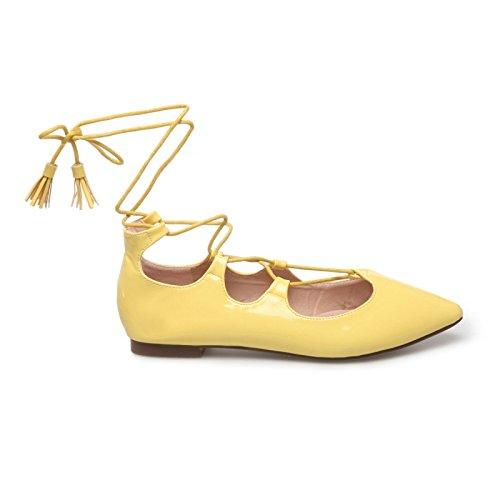La Modeuse-Bailarinas de punta con orificio, piel sintética, diseño de pintauñas, adornada con cordones para anudar alrededor del tobillo Amarillo - amarillo