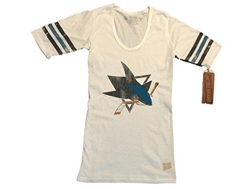 San Jose Sharks Retro Brand WOMEN White Striped Quarter Sleeve T-Shirt (L) (Striped Jose San Shirt Sharks)