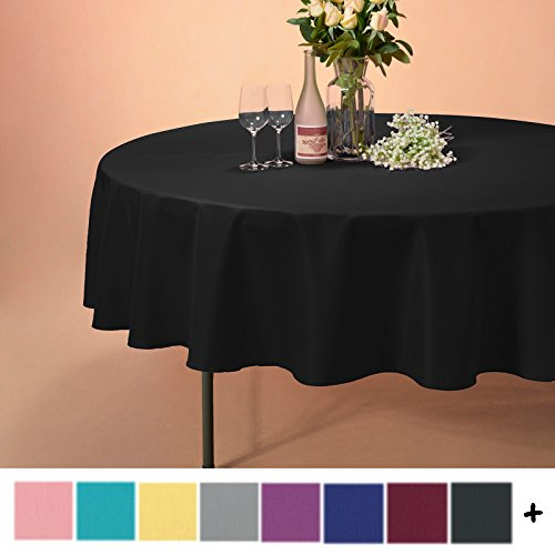 Remedios 90-inch Round Polyester Tablecloth Table Cover - Wedding Restaurant Party Banquet Decoration, Black