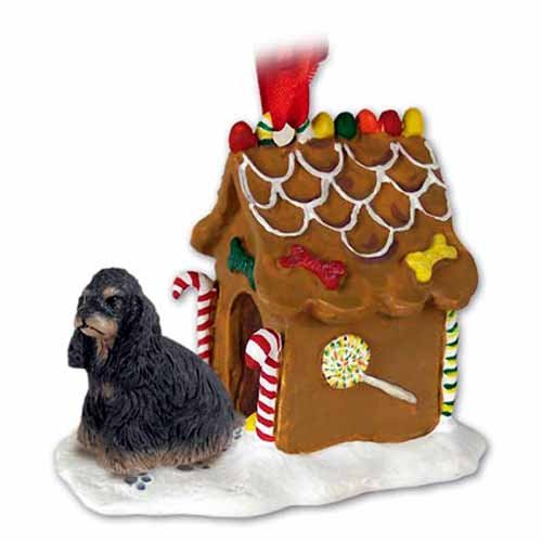 - COCKER SPANIEL Black and Brown Dog GINGERBREAD HOUSE Christmas Ornament 15F