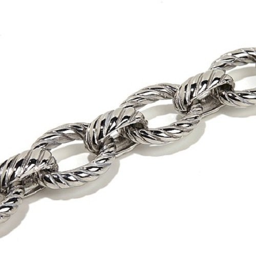 Amythyst Silver Tone Stainless Steel Fancy, Long Rolo Link Ankle Bracelet (12 inches) - Extra Long Length (Silver Rolo Anklet)
