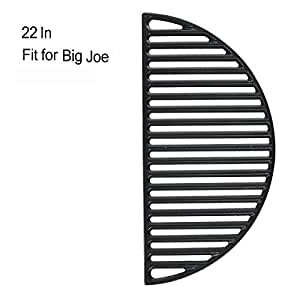 """22"""" Half Moon Cast Iron Divide & Conquer Cooking Grate fit for Classic Joe Reversible Grate for Large Big Green Egg or any 22 Inch Kamado Grill Barbeque Accessories for Searing"""