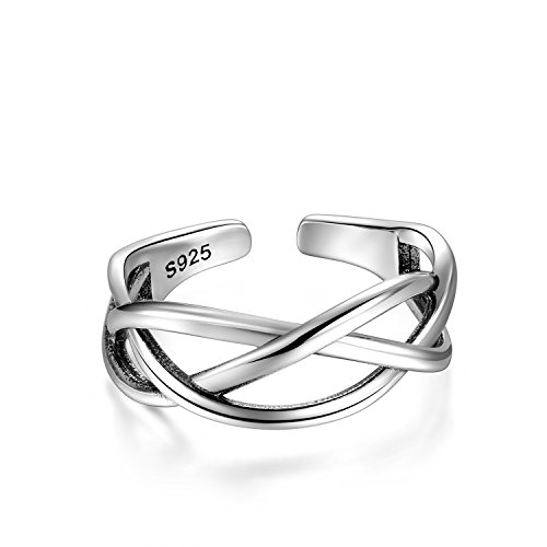 Candyfancy Love Celtic knot ring 925 Sterling Silver Open toe ring Adjustable For Women Girls size 4-6 (Three lines crossed) by Candyfancy (Image #1)