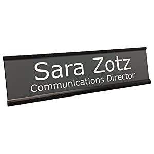 Personalized Name Plate With Wall or Office Desk Holder - black/white