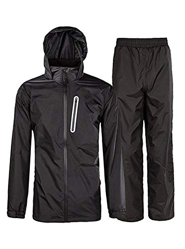 Rain Suit Gear Coat for Men Waterproof Hooded Rainwear Jacket & Trouser Black