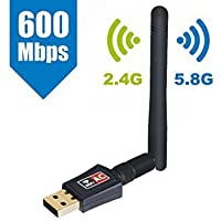 WiFi Adapter,AC600Mbps Dual Band USB Wireless Adapter with High Gain Antenna,802.11ac/n/g/b Network Lan Card for Desktop/Laptop/PC Support Windows XP/Vista/7/8/8.1/10 Mac OS X 10.4-10.12