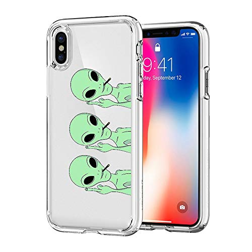 JICUIKE iPhone X Case, Funny Green Cool Alien Pattern Print Soft TPU Silicone Protective Skin Ultra Slim Clear Cute Design Gift Bumper Back Cover for iPhone Xs Edition 5.8 inch [Middle Finger Aliens]