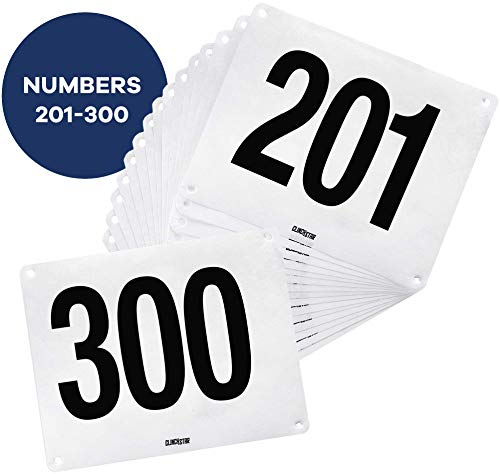 Clinch Star Running Bib Replacements - Large Numbers for Marathon Races and Events - Tyvek Tearproof and Waterproof 6 X 7.5 Inches (Numbers 201-300)