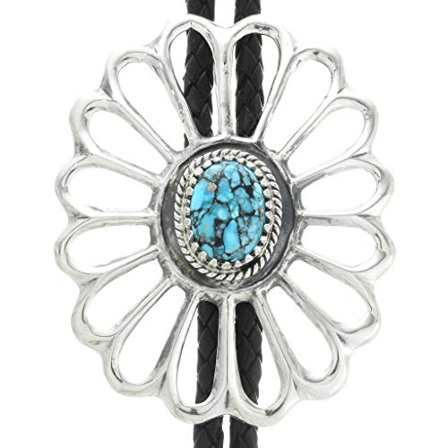 (Spiderweb Turquoise Old Pawn Style Bolo Tie Large Sterling Sandcast Design)